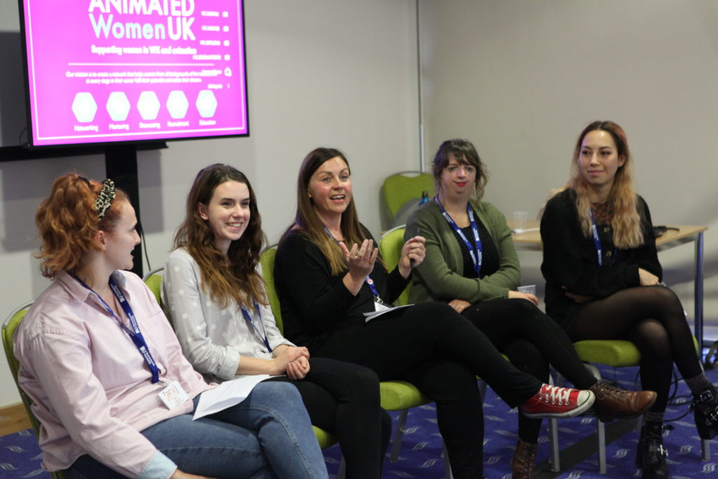 LoveLove team members Shannon Reeve and JoAnne Salmon speaking at the Keyframes for Success Panel